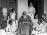 Nobel Prize Winning Indian Poet Rabindranath Tagore Reading to Others Premium Photographic Print
