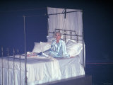 Madonna Onstage in a Bed and Silk Pajamas During Her Pajama Party Tour Premium Photographic Print