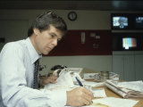 TV News Man Tom Brokaw Preparing a Script of NBC's Today Show Premium Photographic Print by Ted Thai