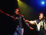 Members of New Kids on the Block Jonathan Knight and Joey McIntyre Performing Premium Photographic Print