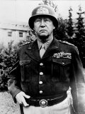 Excellent of Us Four Star Gen. George S. Patton Jr. in Uniform and Helmet Premium Photographic Print
