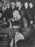 Alexander Graham Bell Inaugurating the New York Chicago Telephone Line While Others Look On Premium Photographic Print