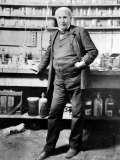 Inventor Thomas Edison Posing in His Laboratory Premium Photographic Print