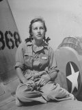 Shirley Slade Pilot Trainee in Women&#39;s Flying Training Detachment, Sporting Pigtails, GI Coveralls Premium Photographic Print by Peter Stackpole