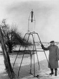 Physicist Robert Goddard Minutes Prior to First Successful Launch of Liquid Fueled Rocket Premium Photographic Print