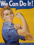 "WWII Patriotic ""We Can Do It"" Poster by J. Howard Miller Featuring Woman Factory Workers Premium Photographic Print"