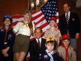 Boy Scouts Model New Uniforms with Designer Oscar de La Renta and Model Jerry Hall Premium Photographic Print by Ted Thai