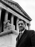 NAACP Chief Counsel Thurgood Marshall in Serious Portrait Outside Supreme Court Building Premium Photographic Print by Hank Walker