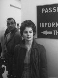 Priscilla Beaulieu, Girlfriend of Elvis Presley, at Airport to See Star at End of His Tour of Duty Premium Photographic Print by James Whitmore