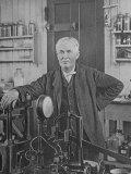 Sepia Print of Inventor Thomas Edison in His Laboratory Premium Photographic Print