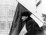 Russian Communist Leader Vladimir Lenin Speaking to Troops from Outside Balcony of Soviet Hq Premium Photographic Print