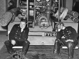 London Auxiliary Fire Service Crew Members Catch Nap on Tail of a Fire Truck Photographic Print by William Vandivert