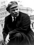 Russian Communist Leader Vladimir Lenin Wearing Cap Outdoors, Reviewing Troops Premium Photographic Print
