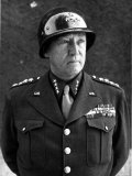 American Four Star General George S. Patton Jr, Commander of Us 3rd Army, in Uniform and Helmet Premium Photographic Print