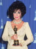 Elizabeth Taylor Holding Her Oscar in Press Room at Academy Awards Premium Photographic Print