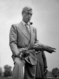 Governor of the Bahamas Duke of Windsor Holding Asparagus Picked by Bahamian Laborers During WWII Premium Photographic Print by Peter Stackpole