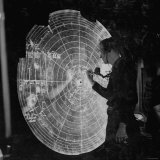 US Navy Technician Marking Radar Data on Chart, Tracking Enemy Japanese Ships in WWII Pacific Photographic Print