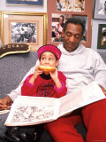 Raven Symone and Bill Cosby on Set of Their Television Series, The Cosby Show Premium Photographic Print