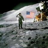 US Astronaut James B. Irwin Standing on Moon Beside the Lunar Roving Vehicle with Lunar Module Photographic Poster Print