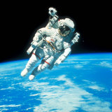 US Astronaut Bruce Mccandless Conducting Space Walk During Challenger IV Space Shuttle Mission Premium Photographic Print