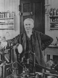 Inventor Thomas Edison in His Laboratory Premium Photographic Print