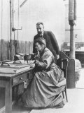 Chemists Pierre Curie and Wife Marie Curie in Their Laboratory Premium Photographic Print