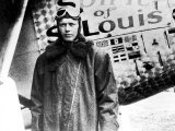 "American Aviator Charles Lindbergh Standing Beside His Plane ""Spirit of Saint Louis"" Premium Photographic Print"