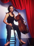 Russian Cellist Nina Kotova in Casual Full Length Portrait with Her Cello Premium Photographic Print by Ted Thai