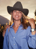 Model Christie Brinkley, Wearing Cowboy Hat Premium Photographic Print