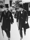David Lloyd George and Winston Churchill Walking Together, Both Wearing Top Hats and Waistcoats Premium Photographic Print