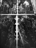 Two Hundred Paratroopers Sitting in Double Decker During Training Maneuvers Premium Photographic Print by Hank Walker