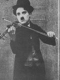 Charlie Chaplin as a Street Musician in The Vagabond Premium Photographic Print