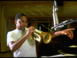 Trumpeter Wynton Marsalis Playing His Instrument, at Recording Session Premium Photographic Print by Ted Thai