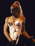 Pop Star Madonna Wearing Conical Bustier and Standing in Provocative Pose While Onstage Premium Photographic Print