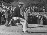 Golfer Ben Hogan, Resting on Portable Folding Seat During Los Angeles Open Golf Tournament Premium Photographic Print by Peter Stackpole