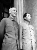 Chinese General Chiang Kai Shek Standing Side by Side with Communist Leader Mao Tse Tung Premium Photographic Print by Jack Wilkes