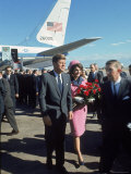 Pres. John F Kennedy and Wife Jackie at Love Field During Campaign Tour on Day of Assassination Premium Photographic Print by Art Rickerby