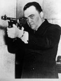 FBI Head J. Edgar Hoover Aiming a Thompson Submachine Gun Premium Photographic Print