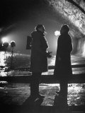 Carol Reed Coaching Orson Welles as They Stand Against Floodlights During Filming &quot;The Third Man.&quot; Premium Photographic Print by William Sumits