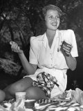 Rita Hayworth in White Sharkskin Playsuit, Starts Her Bicycling Picnic Premium Photographic Print by Peter Stackpole