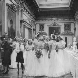 Wedding of Raine Mccorquodale to Gerald Legge, Bridesmaids Talking to Each Other at the Reception Photographic Print by William Sumits