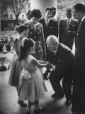 Nikita Khrushchev During 4th of July Party at US Embassy Talking with Mrs. Llewellyn E. Thompson Premium Photographic Print by James Whitmore