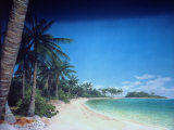 """Tranquil Is. Lagoon Beach from Field Museum of Natural History's """"Traveling the Pacific"""" Exhibit Premium Photographic Print by Ted Thai"""