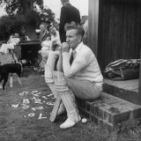 Robert Graves Sitting on Steps Dressed for Cricket Premium Photographic Print by William Sumits