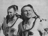 "Astronauts James A. Lovell Jr, and Frank Borman, Arriving on USS ""Wasp"" of Gemini 7 Flight Premium Photographic Print"