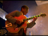Guitarist Mark Whitfield Playing Large Guitar at MK's Premium Photographic Print by Ted Thai