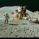 US Astronaut James B. Irwin Standing on Moon Beside the Lunar Roving Vehicle with Lunar Module Photographic Print