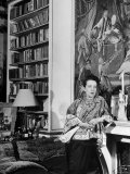 Madam Elsa Schiaparelli Enjoying Her Study Which is Filled with Treasures, Paintings, and Books Premium Photographic Print by Hans Wild