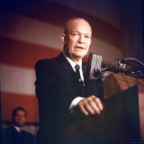 President Dwight D Eisenhower Addressing Group of Supporters Gathered at Sheraton Park Hotel Photographic Print by Hank Walker
