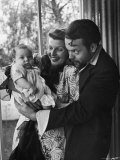 Orson Welles, Wife Rita Hayworth and Infant Daughter Rebecca at Home Premium Photographic Print by Peter Stackpole